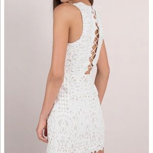 White lace up bodycon dress